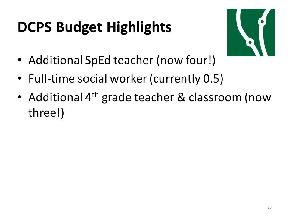 DCPS Budget Highlights 13 Additional SpEd teacher (now four!) Full-time social worker (currently 0.5) Additional 4 th grade teacher & classroom (now t