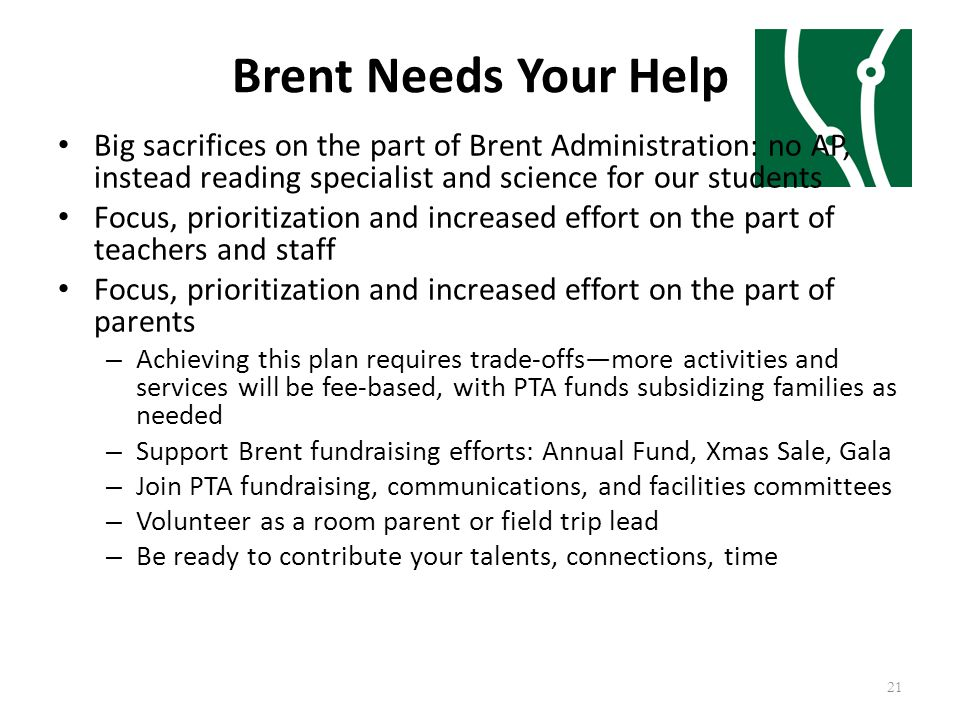 Brent Needs Your Help Big sacrifices on the part of Brent Administration: no AP, instead reading specialist and science for our students Focus, priori