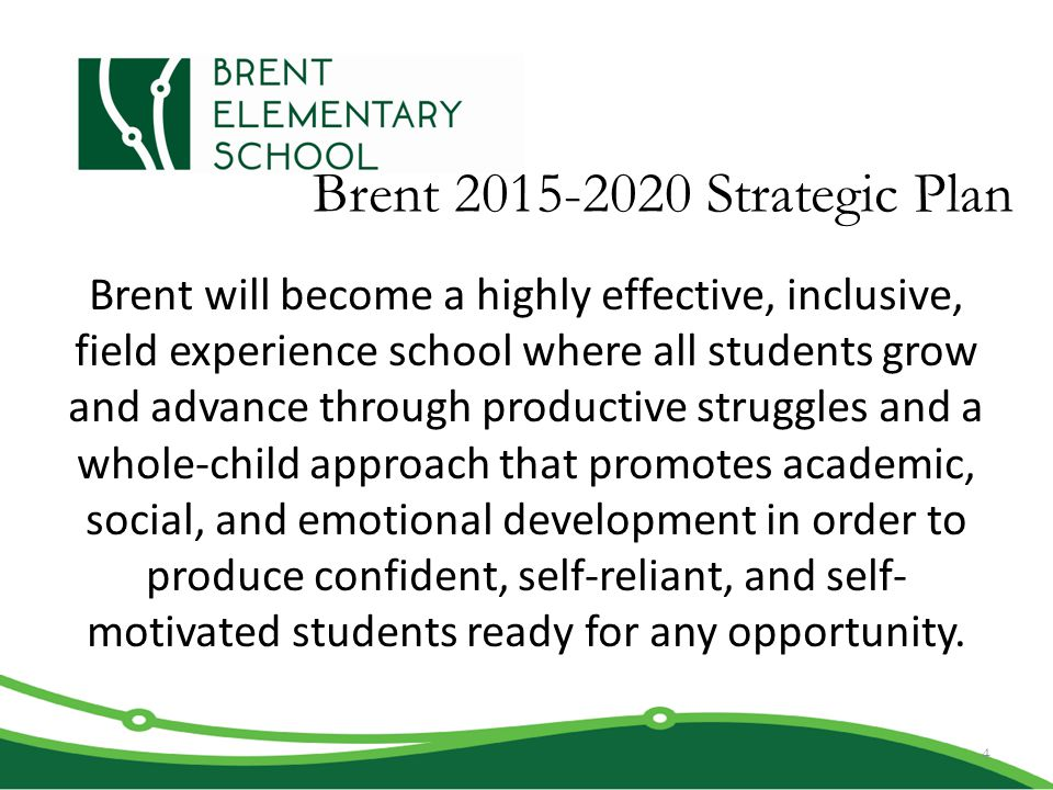 Brent 2015-2020 Strategic Plan Brent will become a highly effective, inclusive, field experience school where all students grow and advance through pr