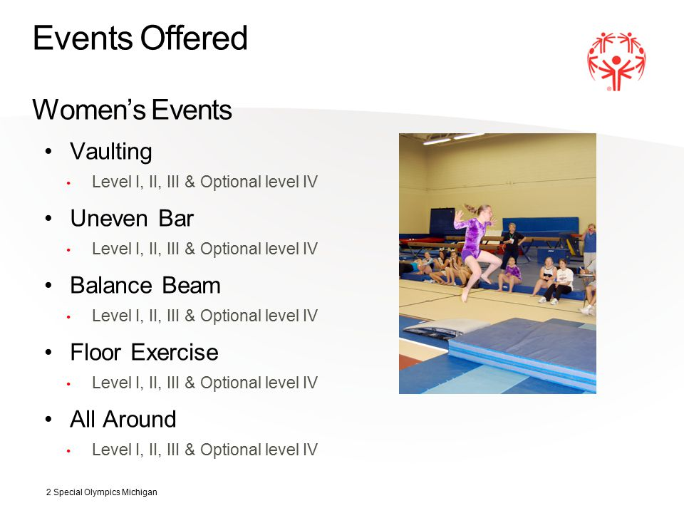 Events Offered Women's Events Vaulting Level I, II, III & Optional level IV Uneven Bar Level I, II, III & Optional level IV Balance Beam Level I, II, III & Optional level IV Floor Exercise Level I, II, III & Optional level IV All Around Level I, II, III & Optional level IV 2 Special Olympics Michigan