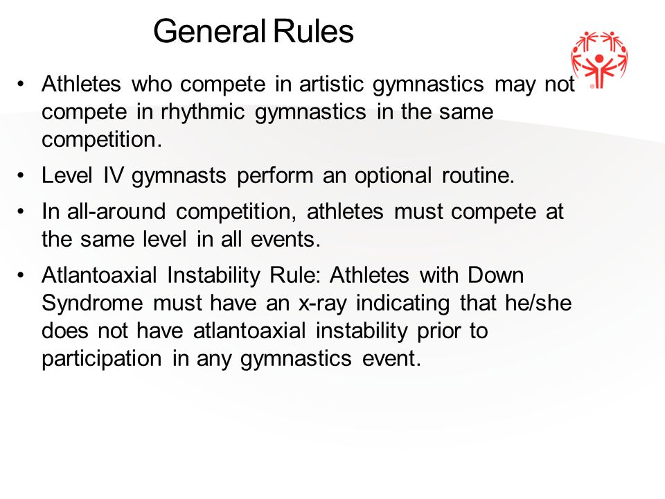 General Rules Athletes who compete in artistic gymnastics may not compete in rhythmic gymnastics in the same competition.