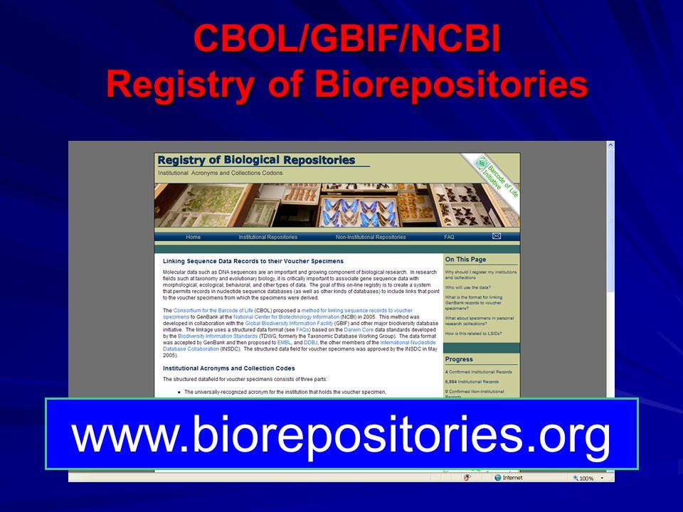 CBOL/GBIF/NCBI Registry of Biorepositories www.biorepositories.org