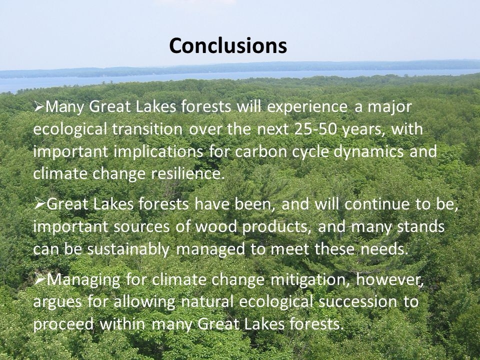 Conclusions  Many Great Lakes forests will experience a major ecological transition over the next 25-50 years, with important implications for carbon cycle dynamics and climate change resilience.