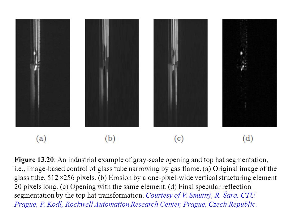 Figure 13.20: An industrial example of gray-scale opening and top hat segmentation, i.e., image-based control of glass tube narrowing by gas flame.