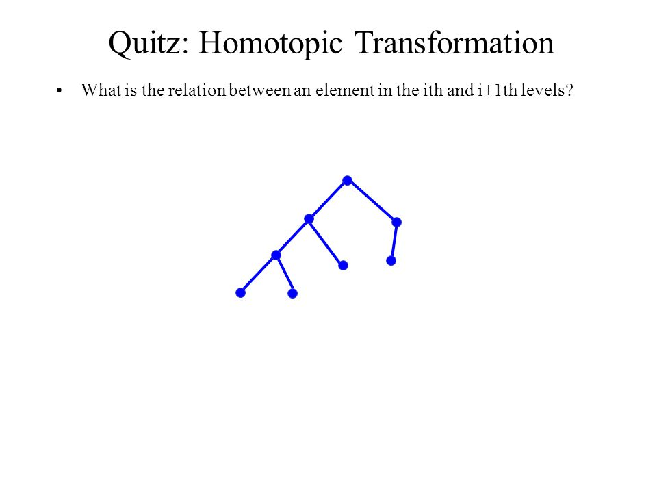 Quitz: Homotopic Transformation What is the relation between an element in the ith and i+1th levels