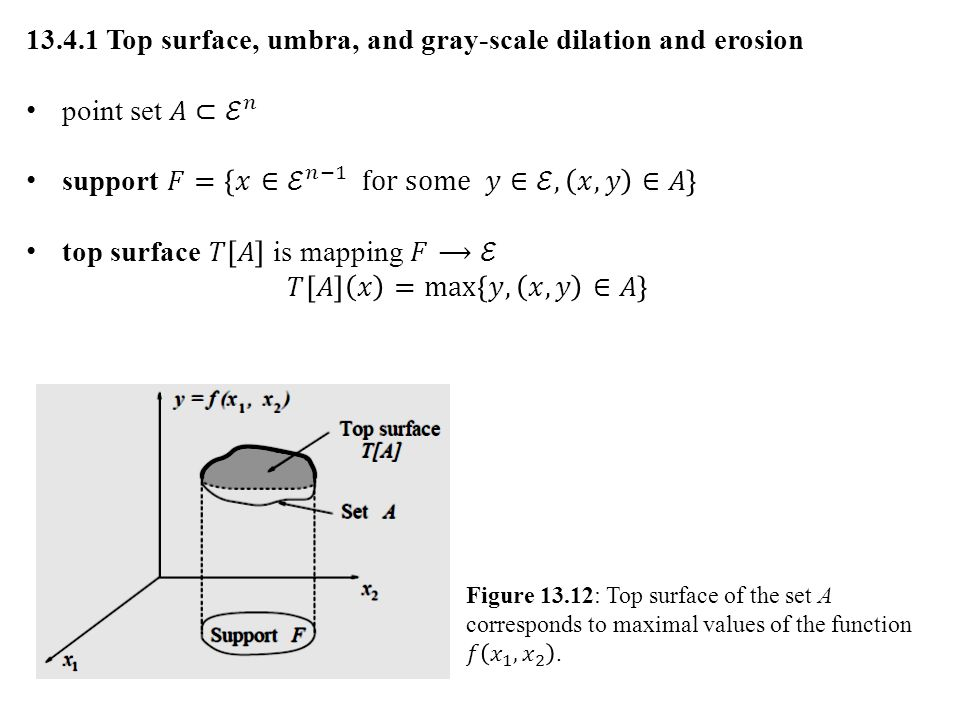 umbra of function f is defined on some subset F (support) of (n−1)- dimensional space umbra – region of complete shadow when obstructing light by non- transparent object umbra of f...