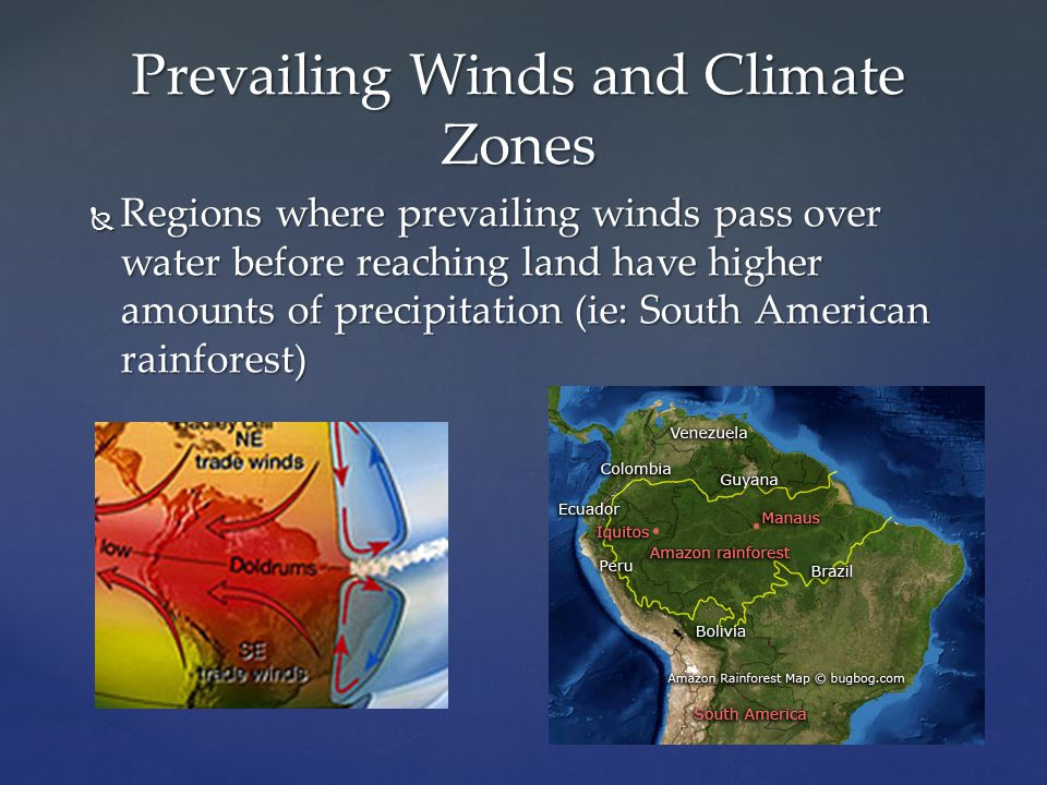  Regions where prevailing winds pass over water before reaching land have higher amounts of precipitation (ie: South American rainforest) Prevailing