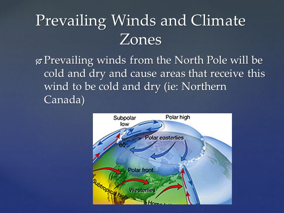  Prevailing winds from the North Pole will be cold and dry and cause areas that receive this wind to be cold and dry (ie: Northern Canada) Prevailing