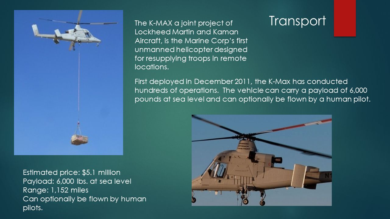 Transport First deployed in December 2011, the K-Max has conducted hundreds of operations.