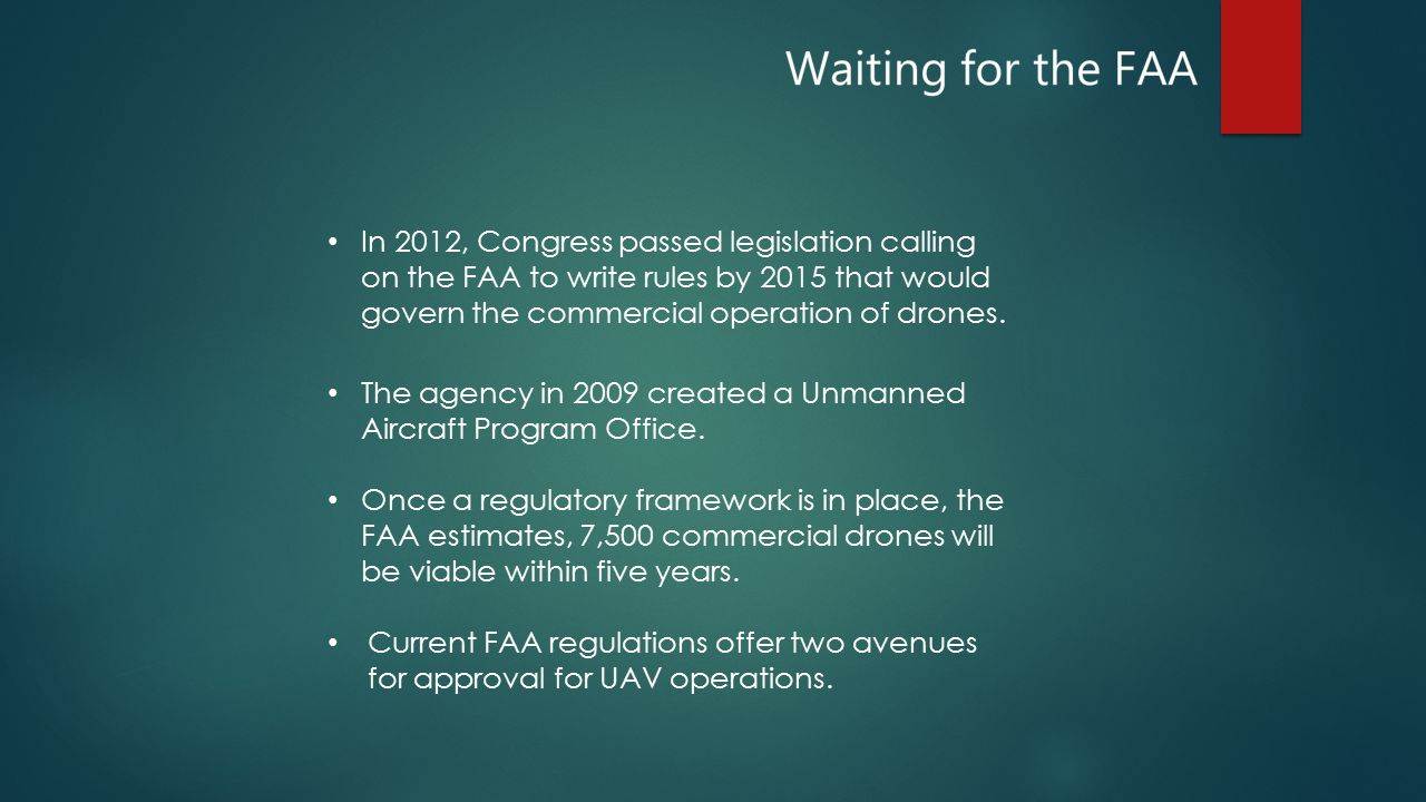 In 2012, Congress passed legislation calling on the FAA to write rules by 2015 that would govern the commercial operation of drones.