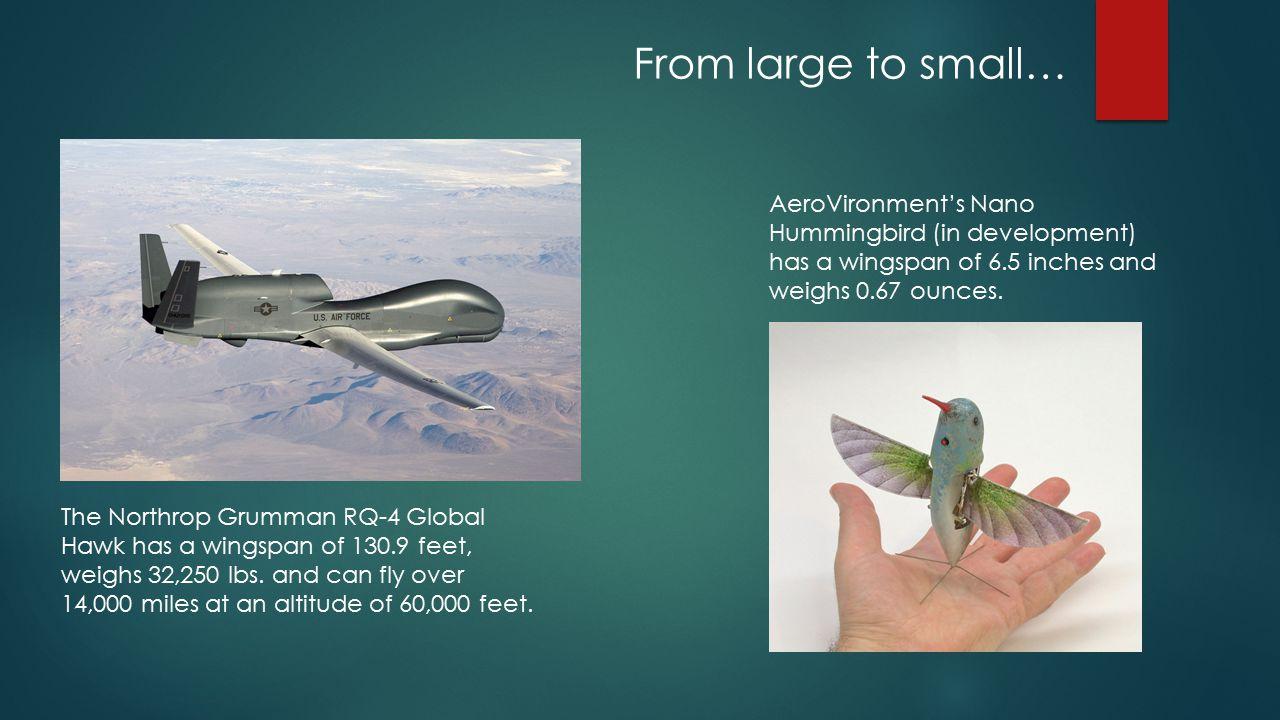 The Northrop Grumman RQ-4 Global Hawk has a wingspan of 130.9 feet, weighs 32,250 lbs.