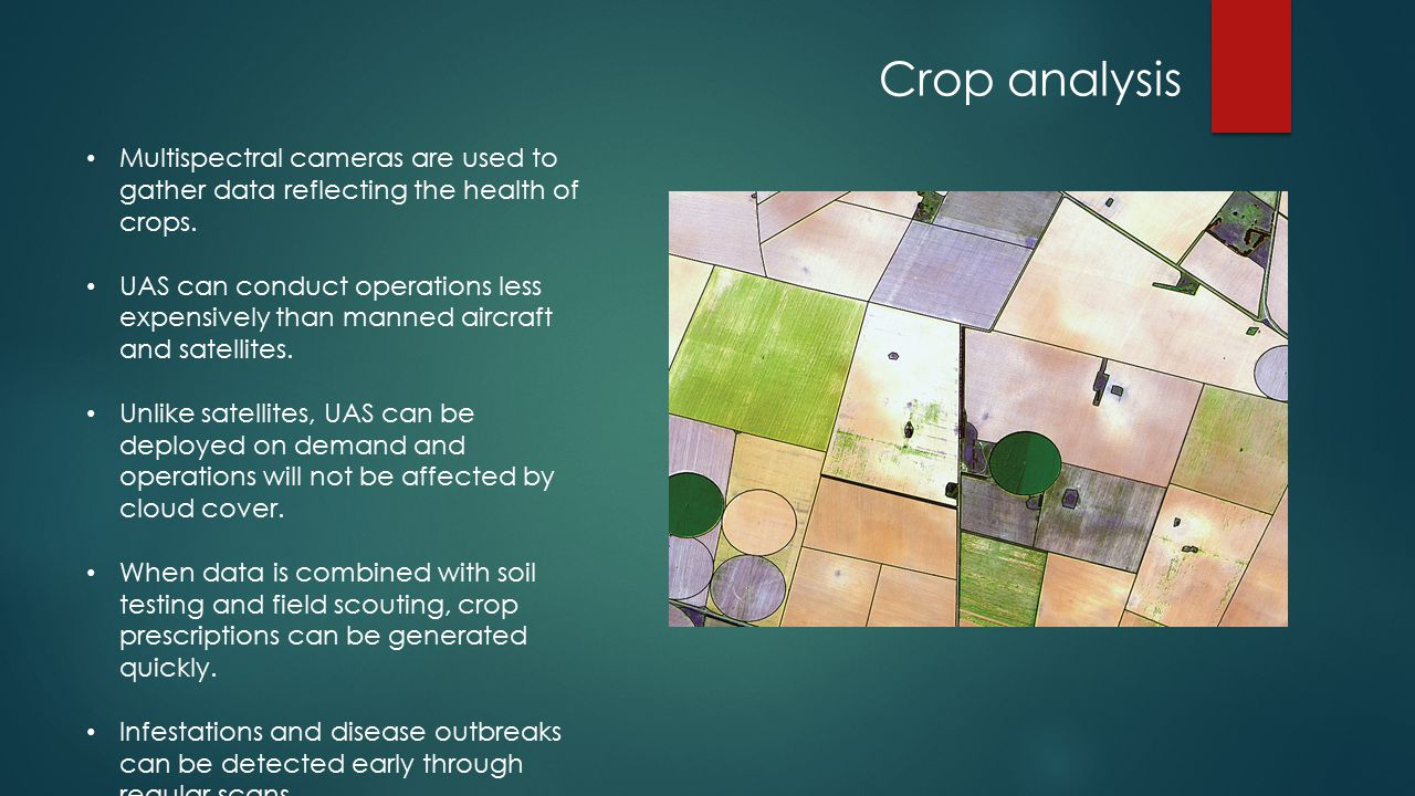 Crop analysis Multispectral cameras are used to gather data reflecting the health of crops.