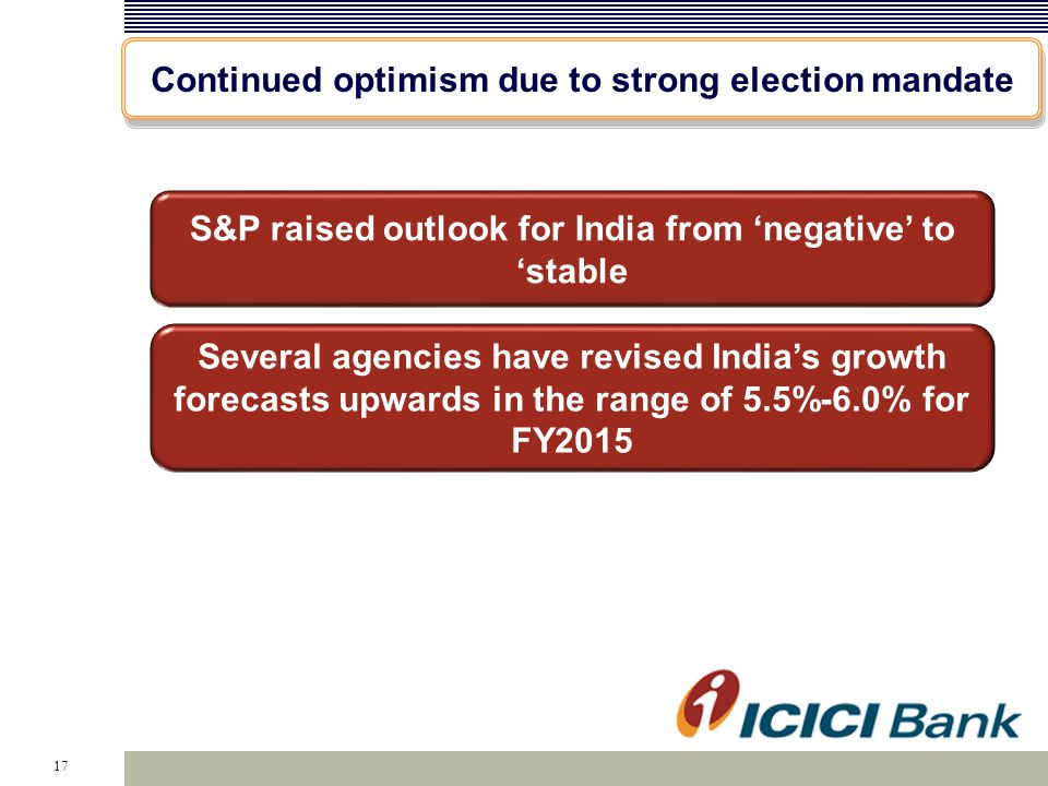 17 Continued optimism due to strong election mandate S&P raised outlook for India from 'negative' to 'stable Several agencies have revised India's gro