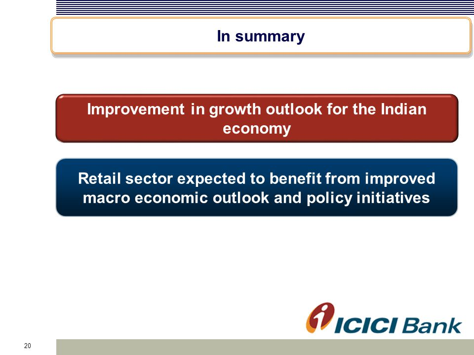 20 In summary Retail sector expected to benefit from improved macro economic outlook and policy initiatives Improvement in growth outlook for the Indi