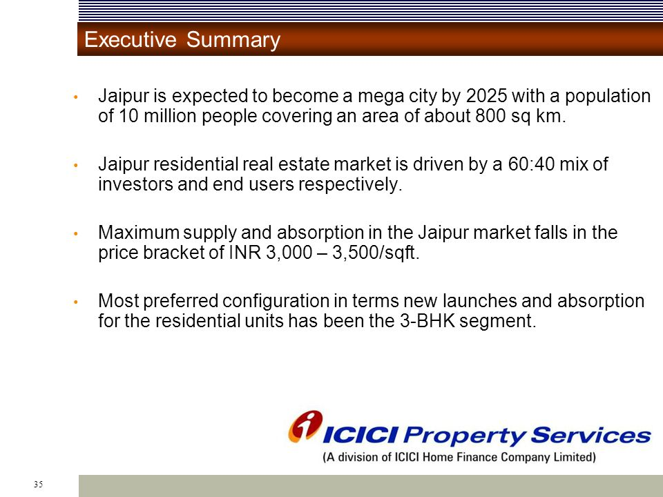 35 Executive Summary Jaipur is expected to become a mega city by 2025 with a population of 10 million people covering an area of about 800 sq km.