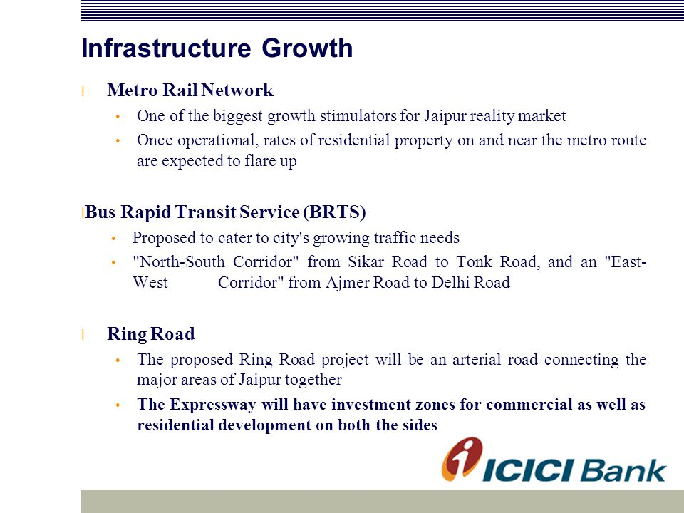 Infrastructure Growth l Metro Rail Network One of the biggest growth stimulators for Jaipur reality market Once operational, rates of residential property on and near the metro route are expected to flare up l Bus Rapid Transit Service (BRTS) Proposed to cater to city s growing traffic needs North-South Corridor from Sikar Road to Tonk Road, and an East- West Corridor from Ajmer Road to Delhi Road l Ring Road The proposed Ring Road project will be an arterial road connecting the major areas of Jaipur together The Expressway will have investment zones for commercial as well as residential development on both the sides