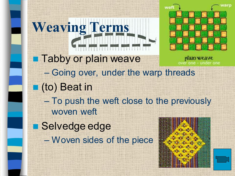 Weaving Terms Tabby or plain weave –Going over, under the warp threads (to) Beat in –To push the weft close to the previously woven weft Selvedge edge –Woven sides of the piece
