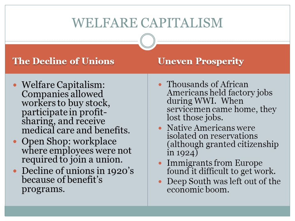 The Decline of Unions Uneven Prosperity Welfare Capitalism: Companies allowed workers to buy stock, participate in profit- sharing, and receive medica