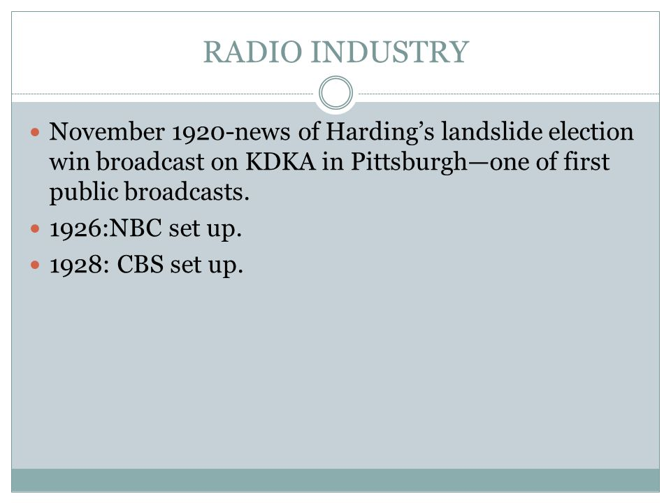 RADIO INDUSTRY November 1920-news of Harding's landslide election win broadcast on KDKA in Pittsburgh—one of first public broadcasts. 1926:NBC set up.