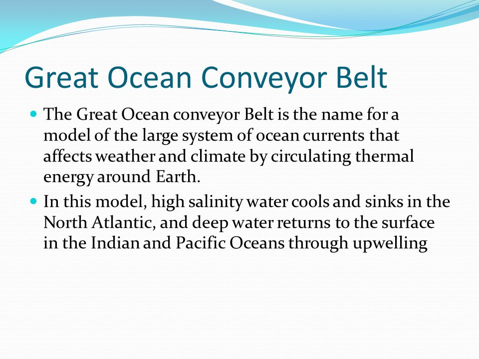 Great Ocean Conveyor Belt The Great Ocean conveyor Belt is the name for a model of the large system of ocean currents that affects weather and climate by circulating thermal energy around Earth.
