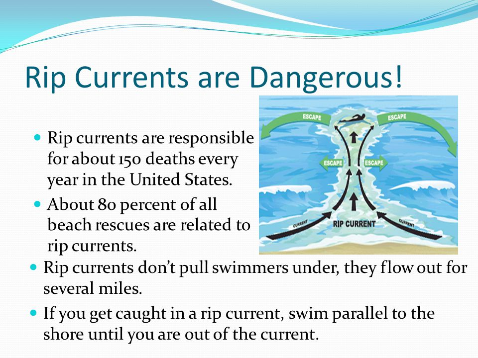 Rip Currents are Dangerous! Rip currents are responsible for about 150 deaths every year in the United States. About 80 percent of all beach rescues a