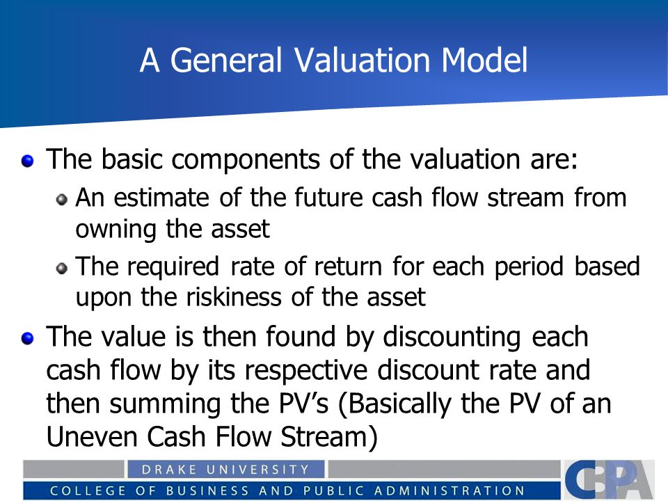 The Formal Model The value of any asset should then be equal to:
