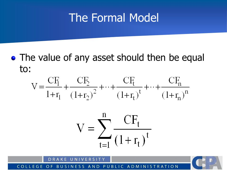 The Formal Model Again Using Free Cash Flow to the firm, the value of operations should be equal to: