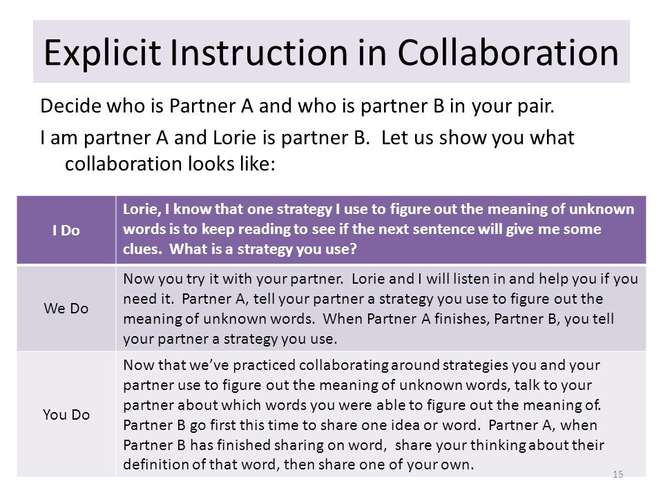 Explicit Instruction in Collaboration Decide who is Partner A and who is partner B in your pair.