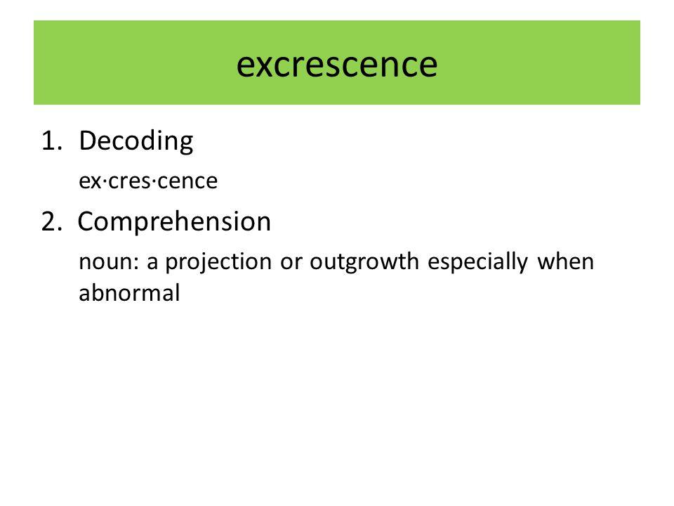 excrescence 1.Decoding ex·cres·cence 2.
