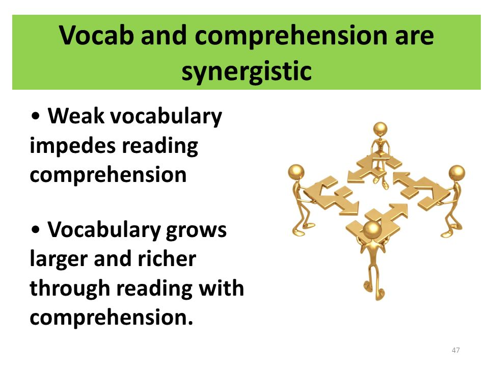 Vocab and comprehension are synergistic Weak vocabulary impedes reading comprehension Vocabulary grows larger and richer through reading with comprehension.