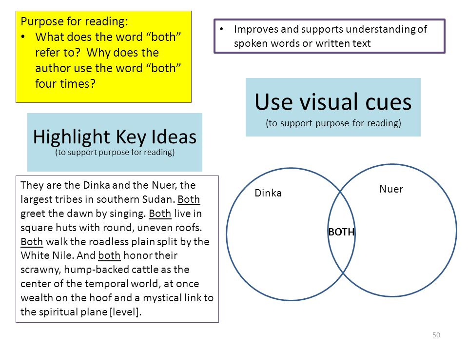 Use visual cues (to support purpose for reading) Purpose for reading: What does the word both refer to.