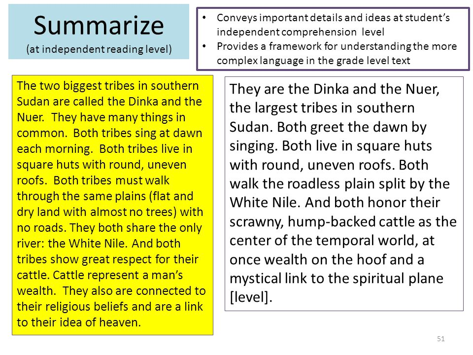 Summarize (at independent reading level) Conveys important details and ideas at student's independent comprehension level Provides a framework for understanding the more complex language in the grade level text They are the Dinka and the Nuer, the largest tribes in southern Sudan.