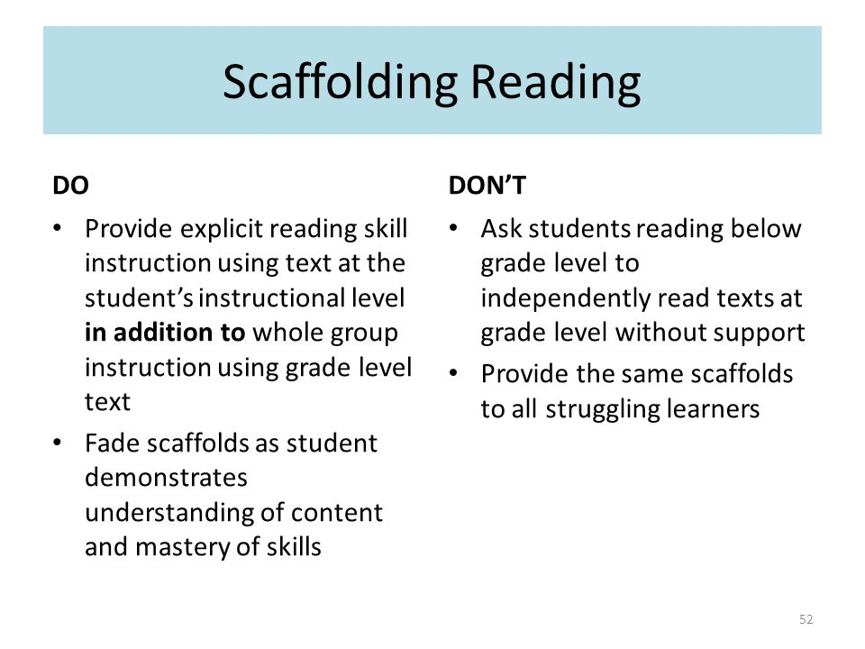 DO Provide explicit reading skill instruction using text at the student's instructional level in addition to whole group instruction using grade level text Fade scaffolds as student demonstrates understanding of content and mastery of skills DON'T Ask students reading below grade level to independently read texts at grade level without support Provide the same scaffolds to all struggling learners Scaffolding Reading 52