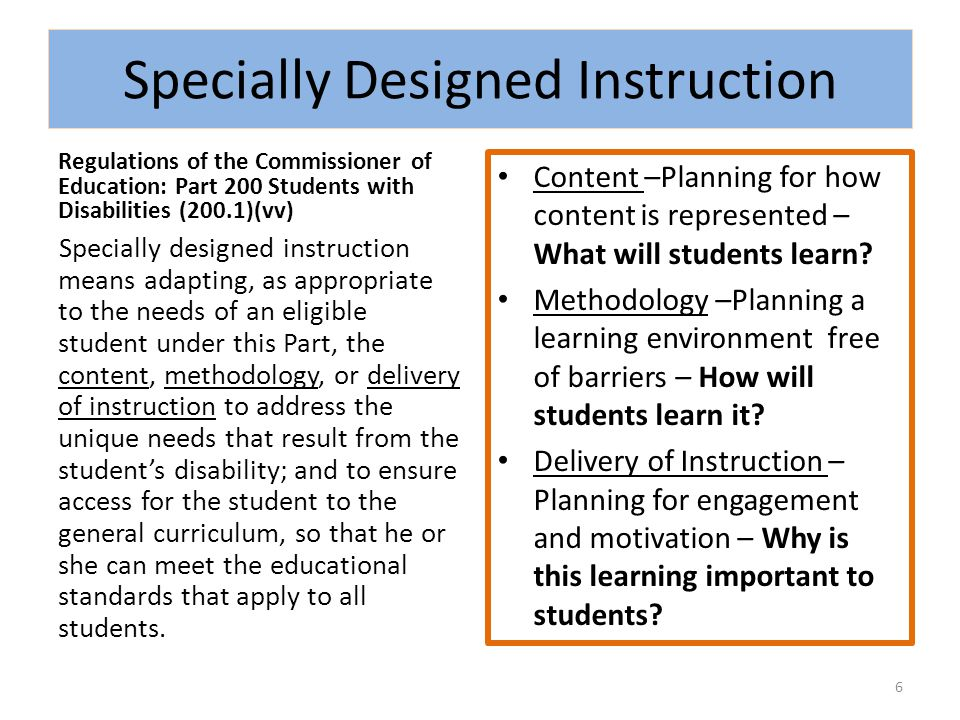 Key Ideas The goal of specially designed instruction (SDI) is to provide access for all students with disabilities to the general curriculum Explicit instruction (I do, we do, you do OR gradual release of responsibility) is the foundation of SDI (effect size of.75*) Scaffolding level of skill performance supports all struggling learners on their way to mastery *[Hall, NCAC Effective Classroom Practices, Explicit Instruction, June 2002] 7
