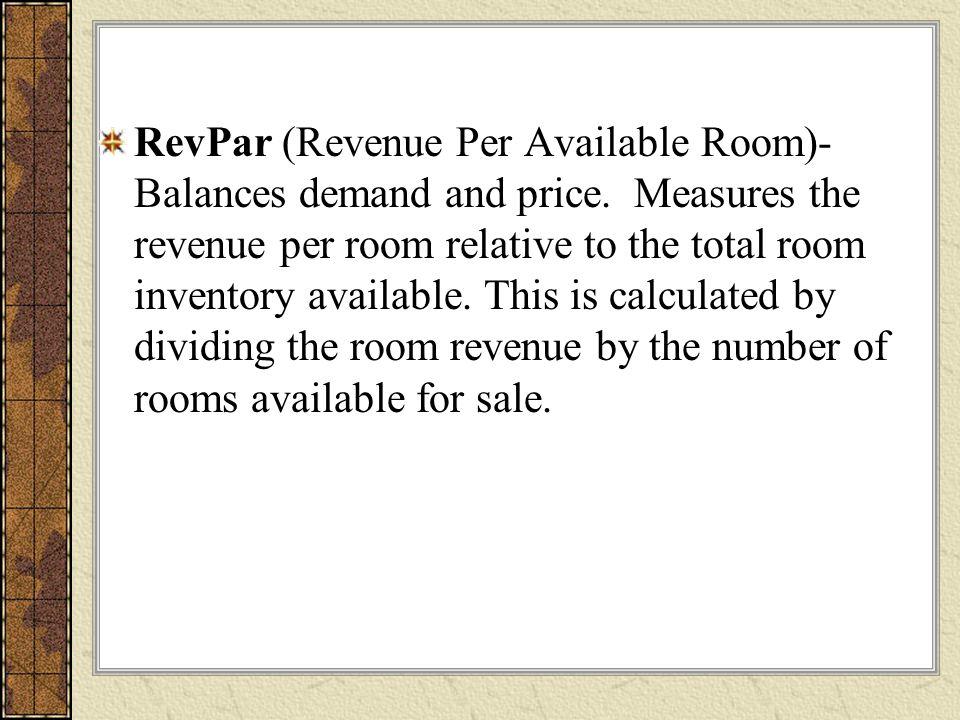 RevPar (Revenue Per Available Room)- Balances demand and price.
