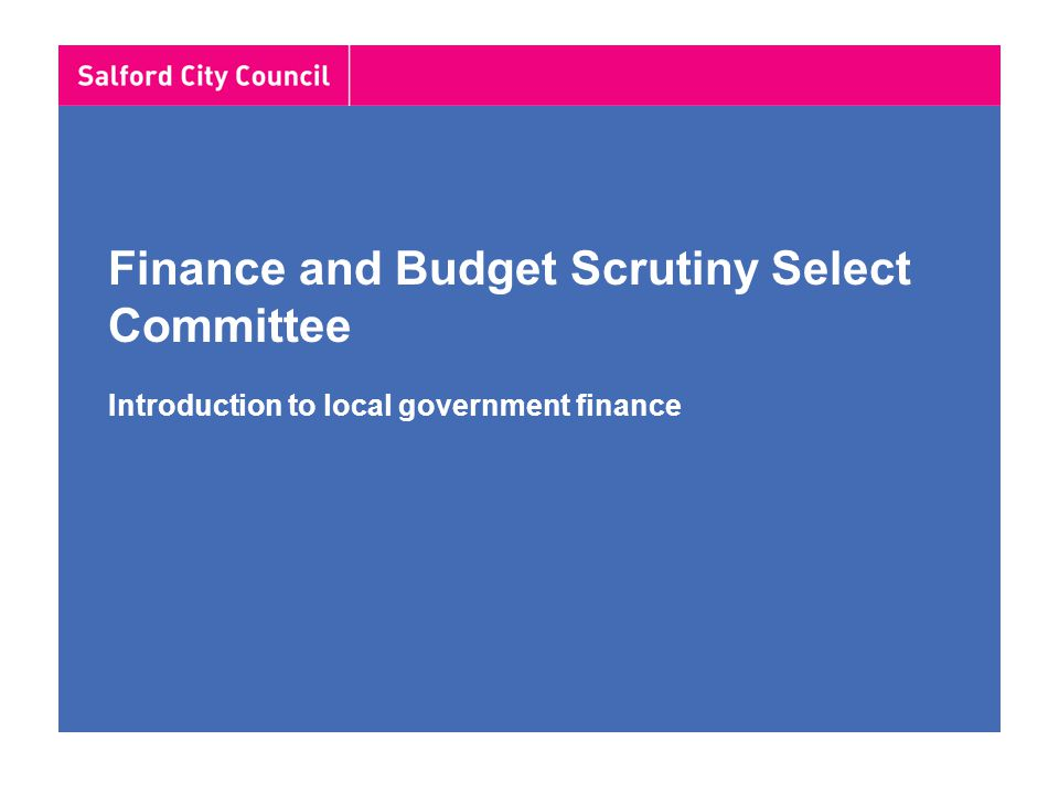 Finance and Budget Scrutiny Select Committee Introduction to local government finance