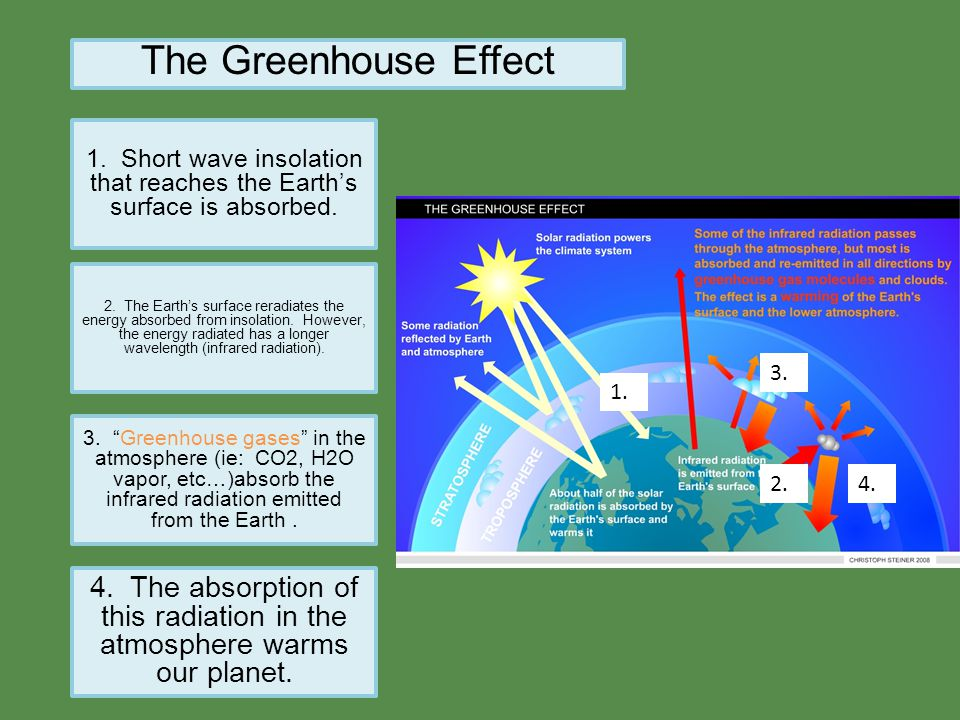 The Greenhouse Effect 1. Short wave insolation that reaches the Earth's surface is absorbed. 2. The Earth's surface reradiates the energy absorbed fro