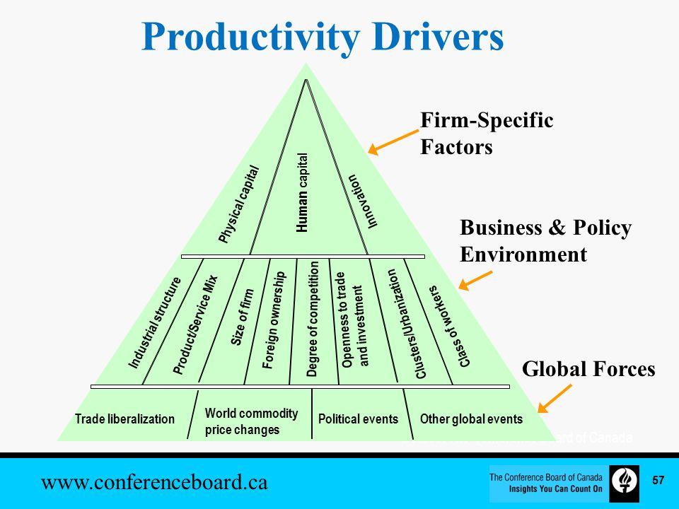 www.conferenceboard.ca Productivity Drivers Source: The Conference Board of Canada Firm-Specific Factors Business & Policy Environment Global Forces Physical capital Human capital Innovation Trade liberalization World commodity price changes Political eventsOther global events Industrial structure Product/Service Mix Size of firm Degree of competition Openness to trade and investment Clusters/Urbanization Class of workers Foreign ownership 57