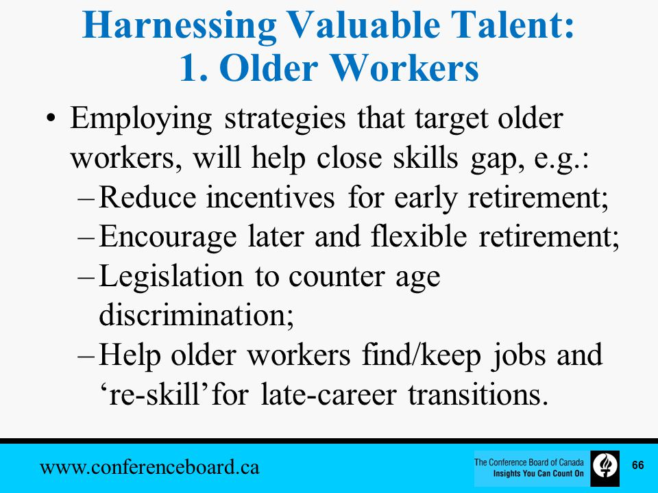 www.conferenceboard.ca Harnessing Valuable Talent: 1.