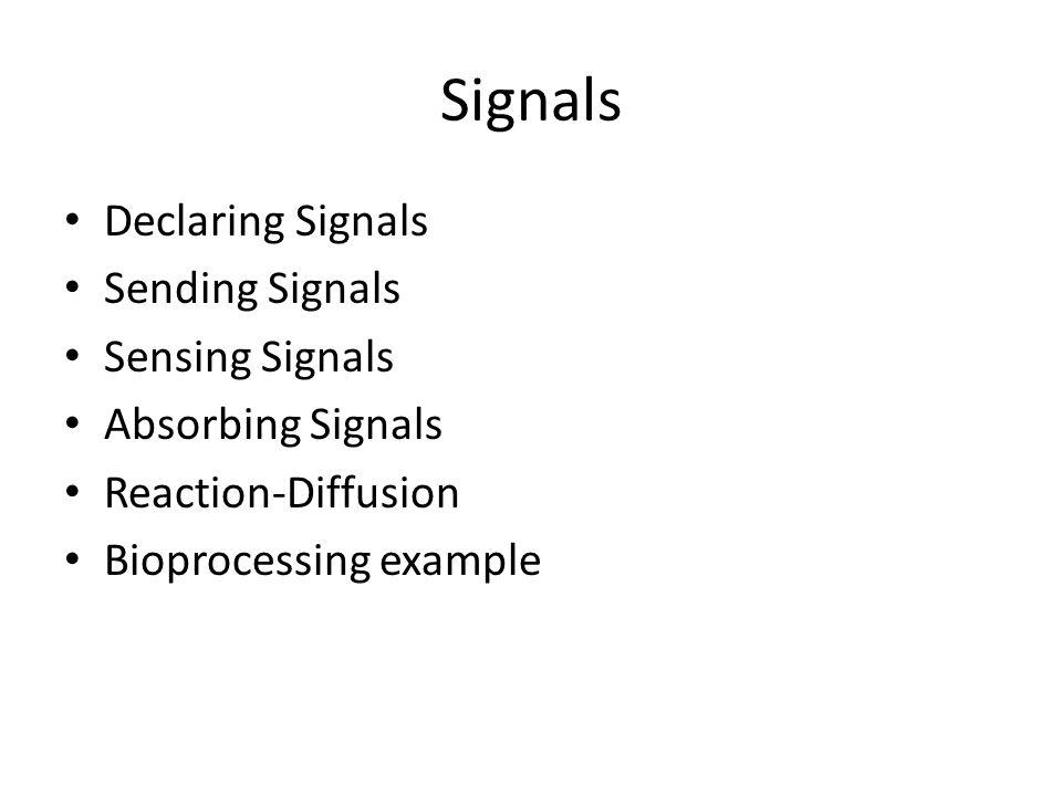 Signals Declaring Signals Sending Signals Sensing Signals Absorbing Signals Reaction-Diffusion Bioprocessing example