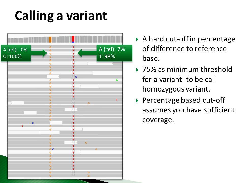 When to call a variant ? A: 18% C: 0% G: 55% T: 27% A: 18% C: 0% G: 55% T: 27%