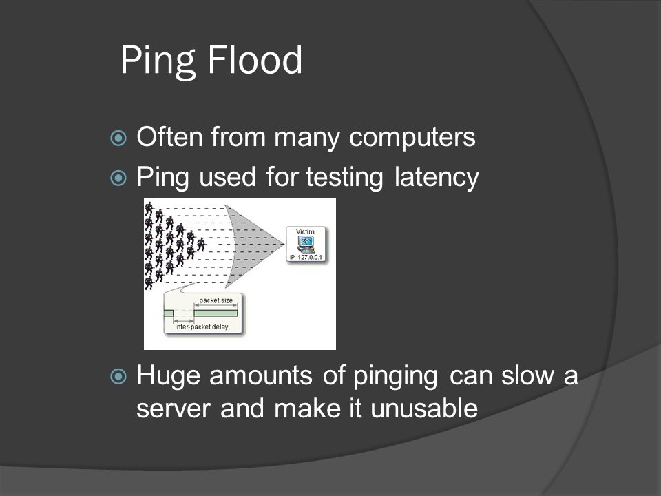 Ping Flood  Often from many computers  Ping used for testing latency  Huge amounts of pinging can slow a server and make it unusable