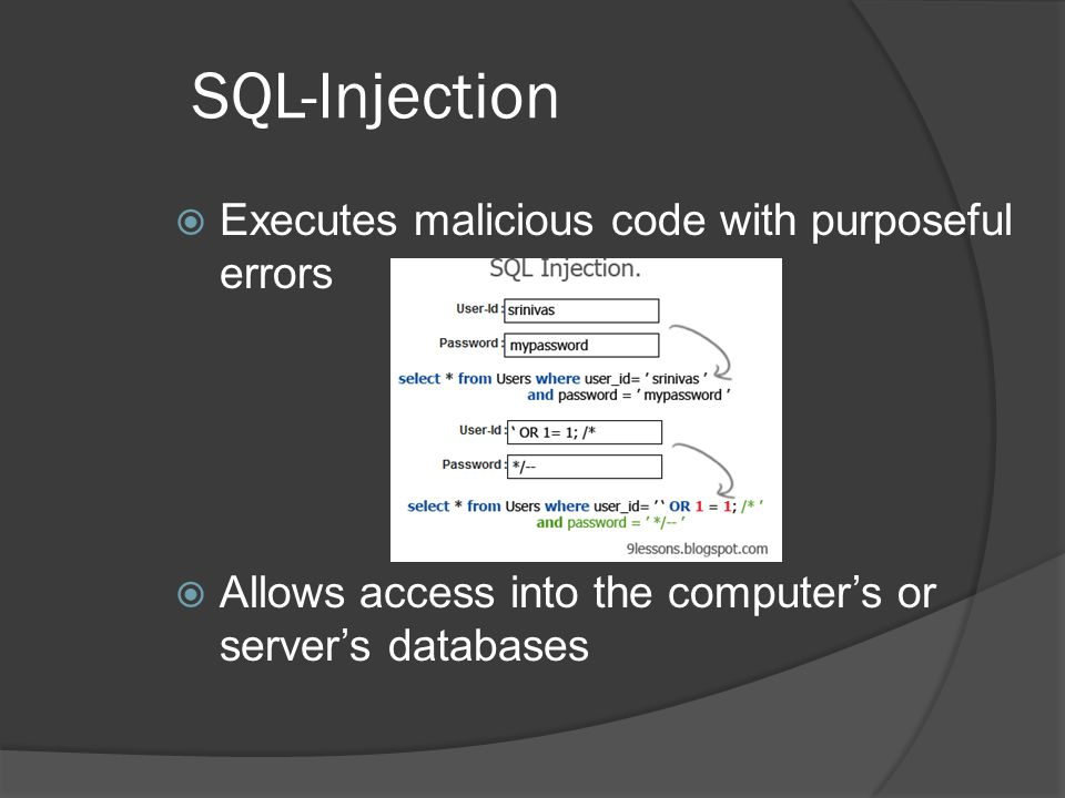 SQL-Injection  Executes malicious code with purposeful errors  Allows access into the computer's or server's databases