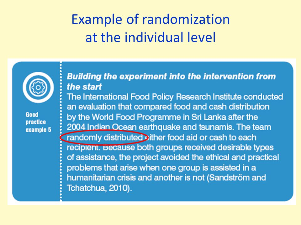 Example of randomization at the individual level