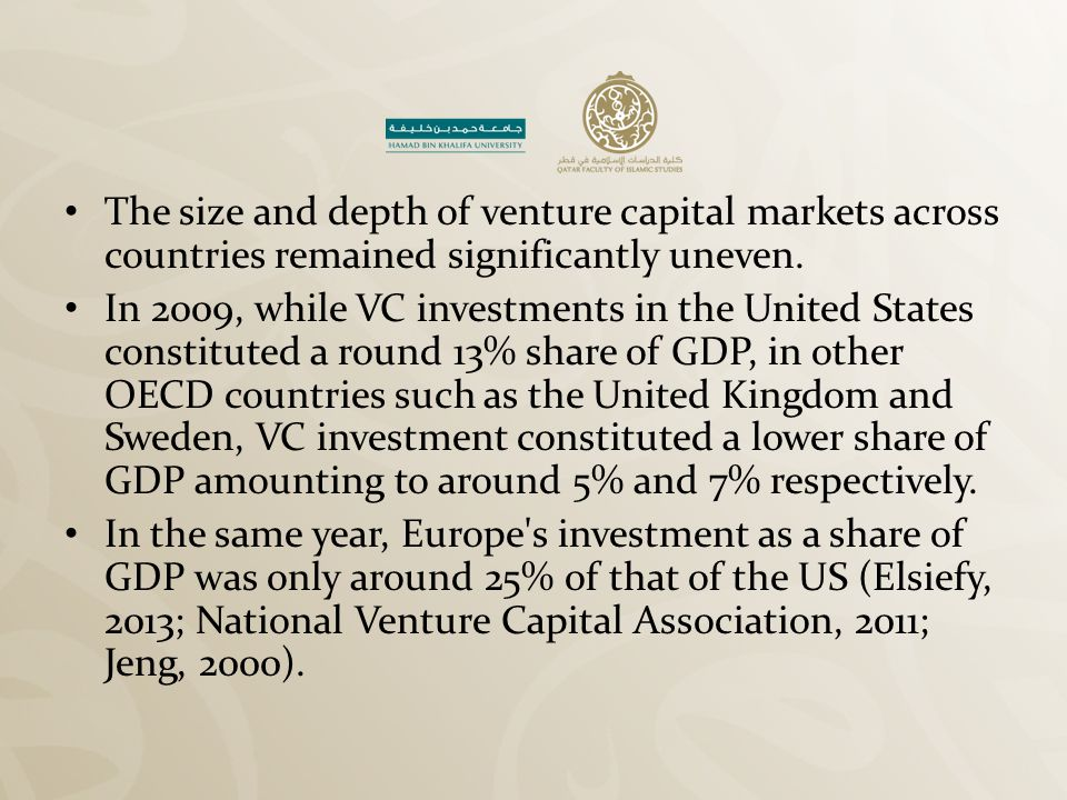 Challenges Facing Islamic VC Investments in the MENA Region Venture capital is still in an early stage in the MENA region.