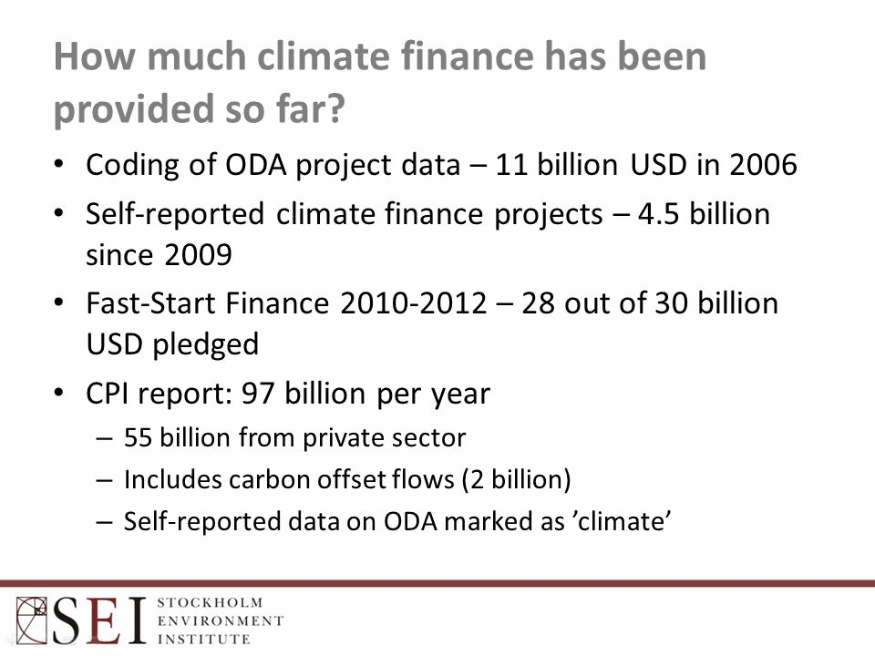 How much climate finance has been provided so far.