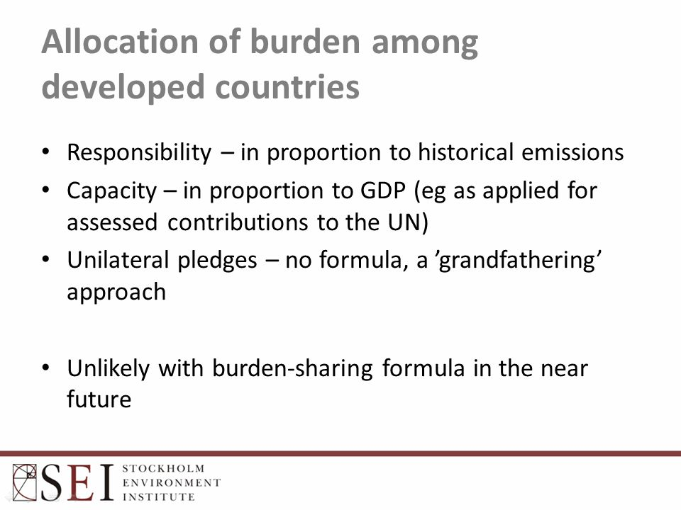 Allocation of burden among developed countries Responsibility – in proportion to historical emissions Capacity – in proportion to GDP (eg as applied f