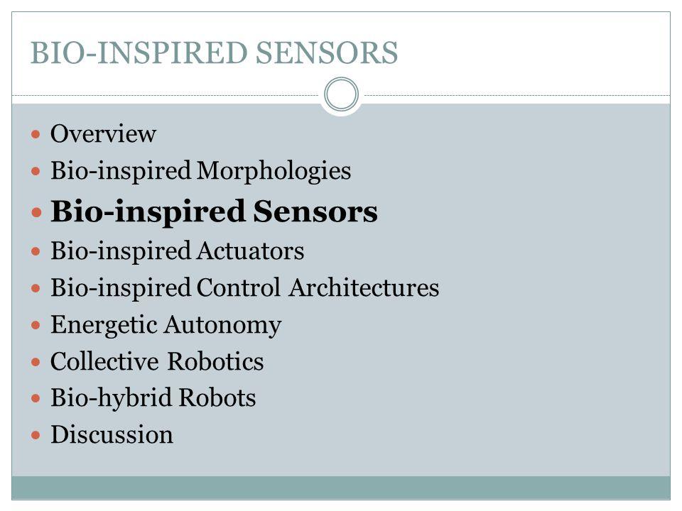 BIO-INSPIRED SENSORS Bio-inspired visual sensors in robotics: Simple  Forced robot motion  Obstacle avoidance  Inter-robot communication vs.