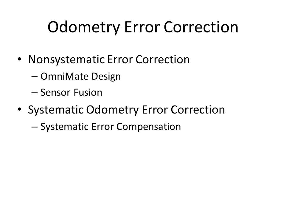 Odometry Error Correction Nonsystematic Error Correction – OmniMate Design – Sensor Fusion Systematic Odometry Error Correction – Systematic Error Com