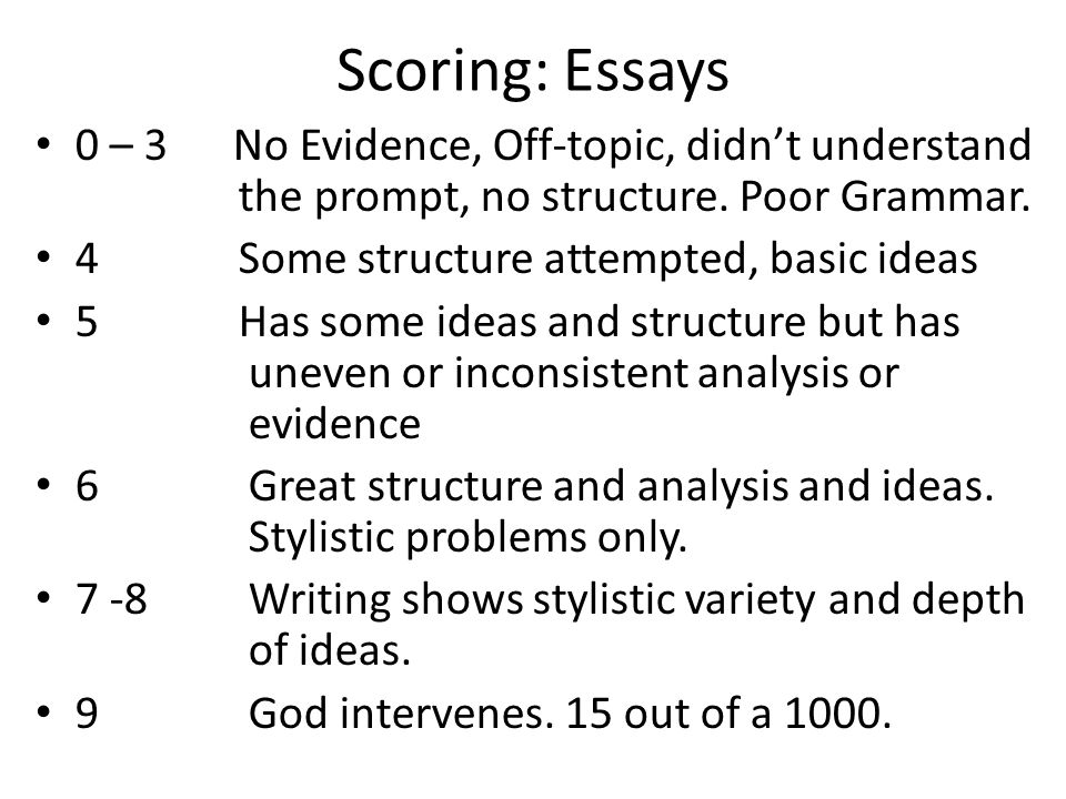 Scoring: Essays 0 – 3 No Evidence, Off-topic, didn't understand the prompt, no structure. Poor Grammar. 4 Some structure attempted, basic ideas 5 Has